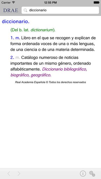 DRAE Diccionario de la Lengua Española Screenshot