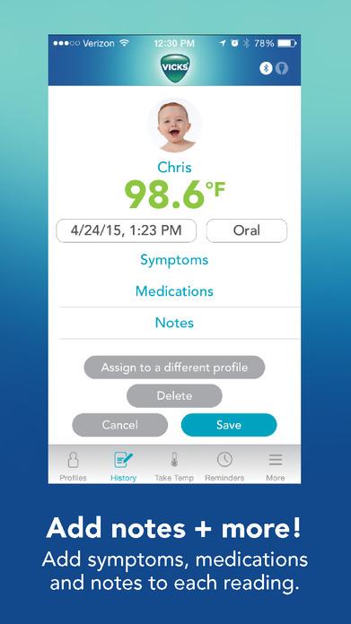 Vicks SmartTemp Thermometer Screenshot