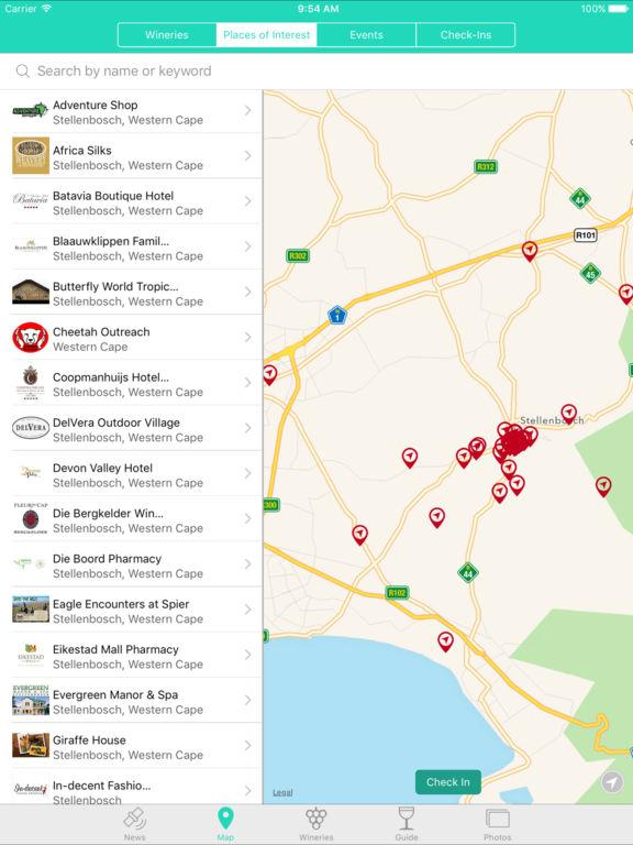 Stellenbosch wine route map