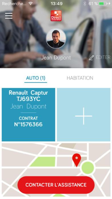 direct assurance service mobile auto dans l app store. Black Bedroom Furniture Sets. Home Design Ideas