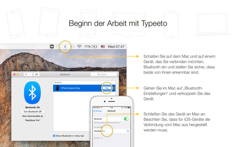 Typeeto: Remote-Bluetooth-Tastatur in voller Größe Screenshot