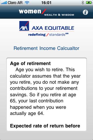 Retirement Income Calculator Screenshot