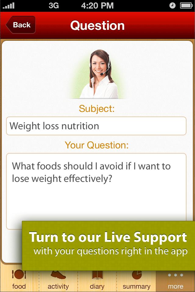 Calorie Counter: diets & activities Screenshot