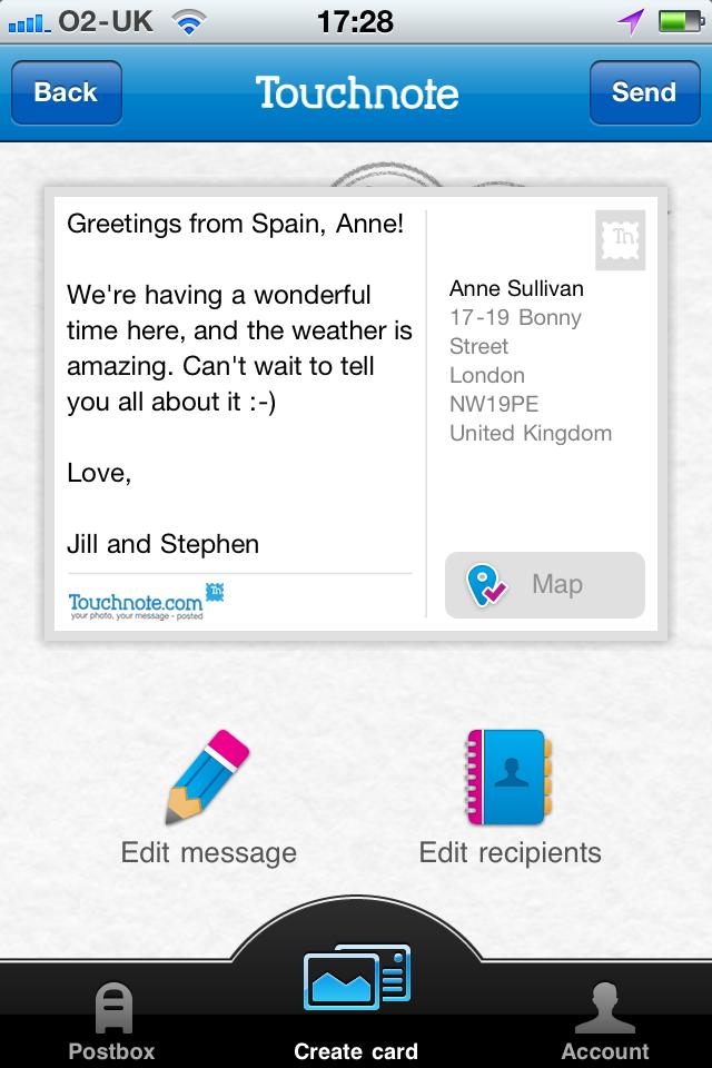 Touchnote Postcards Screenshot