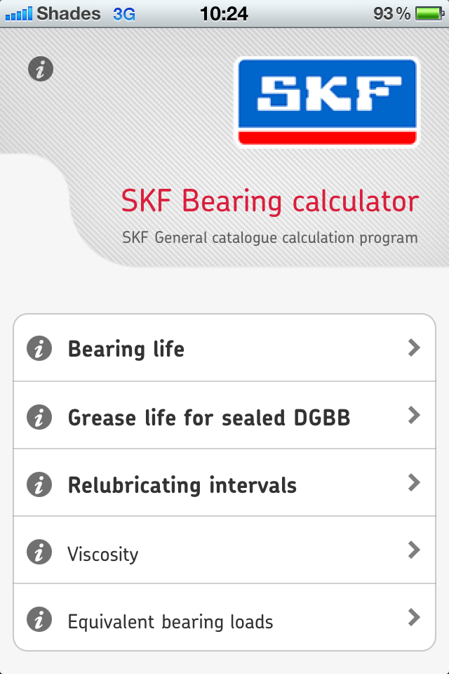 SKF Bearing Calculator | iPhone Productivity apps | by SKF