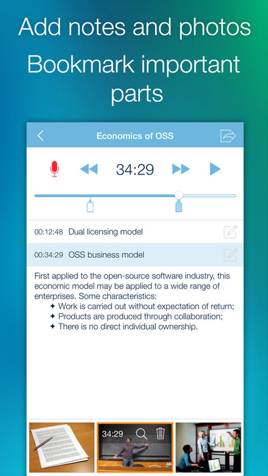 eXtra Voice Recorder: record, edit, take notes, and sync with Dropbox (Perfect for lectures or meetings) Screenshot