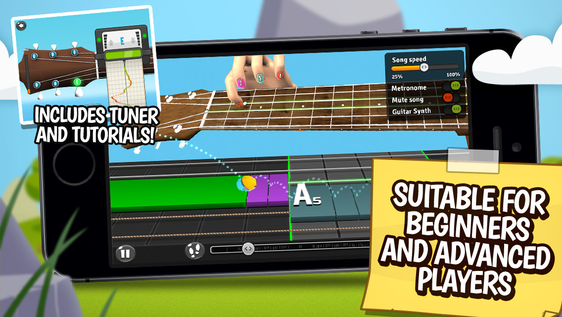 GuitarBots - The ultimate free learning game to play guitar tab riffs and chord songs including easy tuner, metronome, tutorial and lessons. screenshot-3