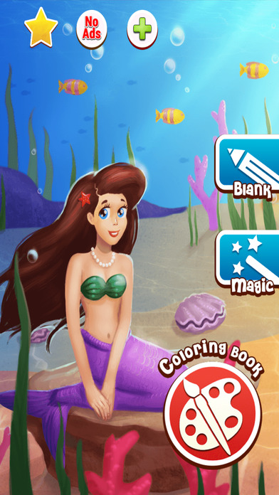 Mermaid coloring pages: color fun game for all ages Screenshot on iOS