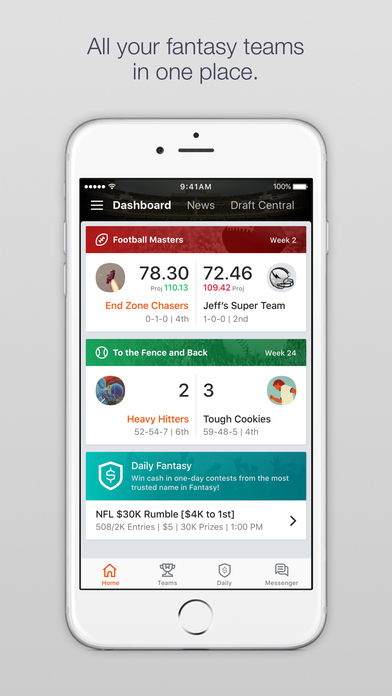 Yahoo Fantasy Football Basketball Hockey Baseball Screenshot