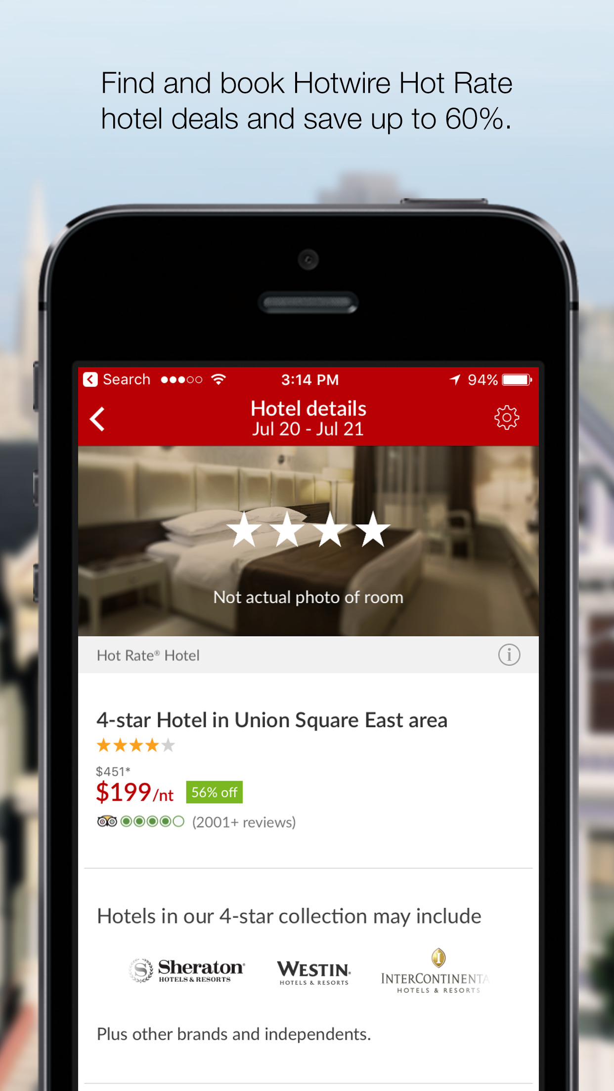 Hotwire: Travel Deals on Hotel Rooms & Car Rentals Screenshot