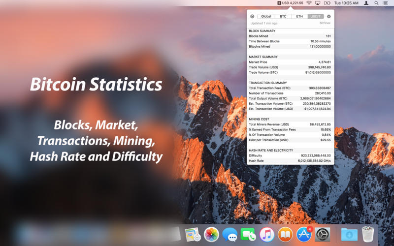 Bitcoin Expert - Exchange Rates and Statistics for Mac