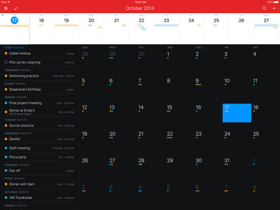 Fantastical 2 for iPad - Calendar and Reminders Screenshot