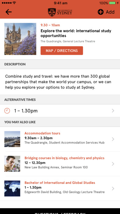 sydney university information day meet