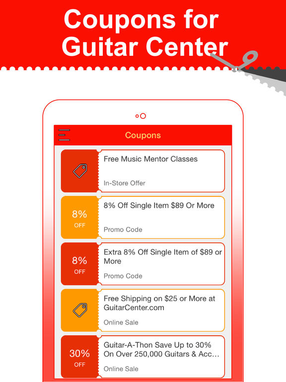 app shopper coupons for guitar center shopping. Black Bedroom Furniture Sets. Home Design Ideas
