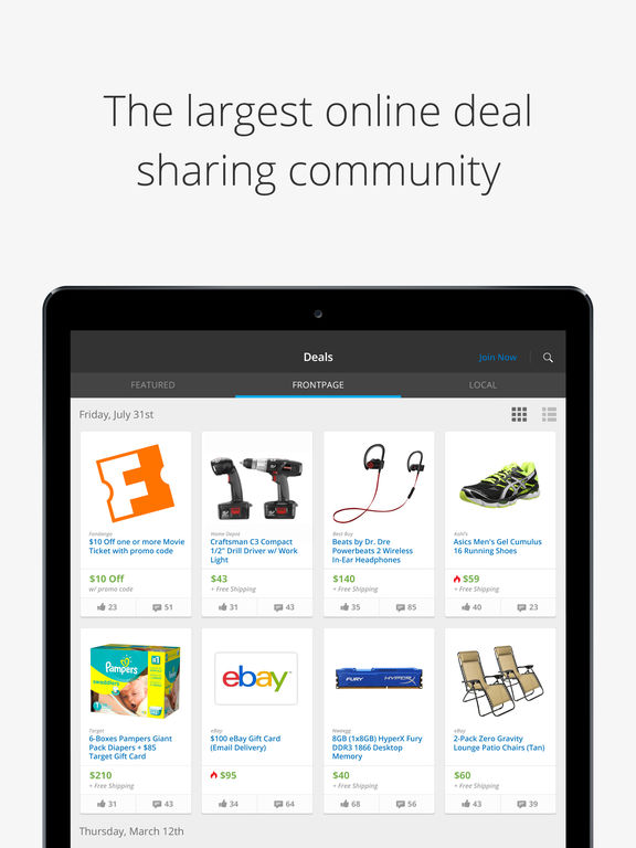 Slickdeals crowdsourced deals straight to your iphone for Discount mobili on line