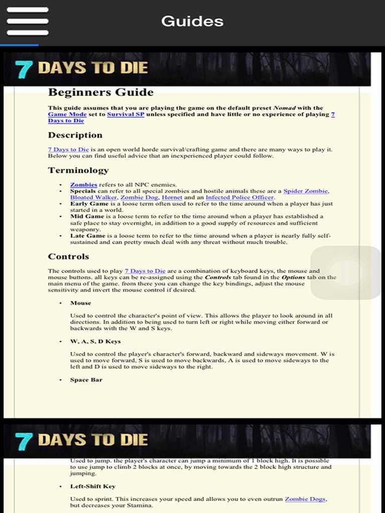 Days To Die Crafting Guide App